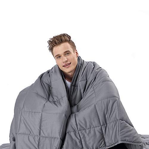 Anjee Weighted Blanket Gewichtete Decke für Erwachsener, 6,8 kg gewichtete Decke für 57-100 kg Personen, für besseren Schlaf, 150 x 200 cm, Grau