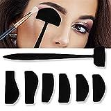 Plantilla de sombra de ojos 6 en 1, kit de líneas de pliegue, fijador de sombra de ojos perezoso, moldes de sellado, corte de pliegue de cejas, kit de maquillaje
