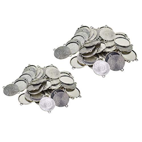 yotijar Herramienta colgante para bandejas de ajuste cabujón de 100 piezas con bisel simple de 16 mm + 18 mm