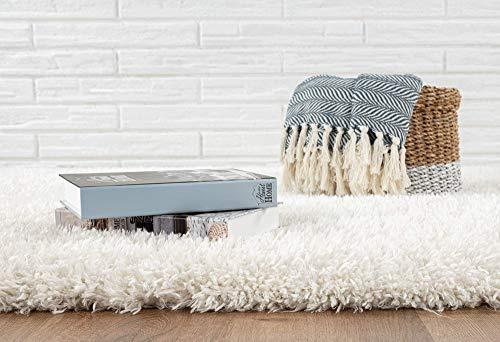 Velvet Langflor, Hochflor Teppich, Luxuriöse Felloptik, Kuschelig Weich, Einfarbig Off White / Creme 160 x 230 cm