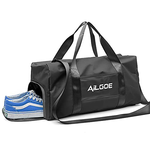 AilGoe Gym Sport Bag/Sport Bag Dry Wet Separated/Gym Sports Duffle Bag ,30LWaterproof Travel Duffel Bag with Wet Pocket, Wet Compartment for Gym Travel, Lightweight Training Bag, Gym Sports Bag(black)