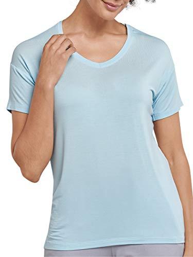 Schiesser Damen Mix & Relax Shirt 1/2 Arm Schlafanzugoberteil, Blau (Aqua 833), 34
