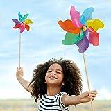 Relaxdays XXL Windrad 2er Set, Gartenstecker Regenbogen, für Kinder, Windspiel Blume, Balkon, Terrasse, PP, Holz, bunt