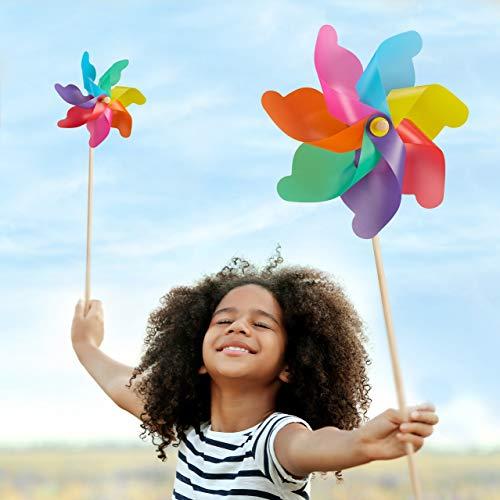 Relaxdays Juego de 2 Molinillos de Viento Arcoíris para Jardín, Terraza y Niños, Polipropileno y Madera, Multicolor