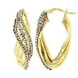 Dea Lasa - Pendientes de oro de 18K, tres líneas ovaladas