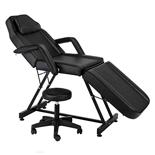72' Adjustable Beauty Salon SPA Massage Bed Tattoo Chair with Stool Black