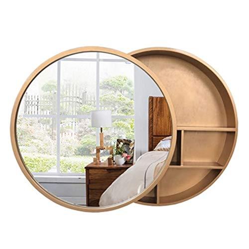 Armarios de medicinas Mueble De Baño Redondo con Espejo Espejo De Tocador De Tocador De Pared Espejo De Baño con Estantes Diseño Push-Pull (Color : Gold, Size : 60cm/23.6 Inches)