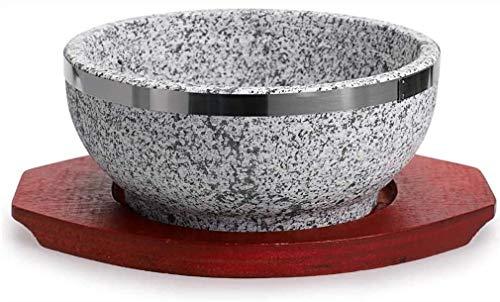 Koreanische Bowl Big Sized Earthenware Stone Pot Bibimbap Cooking + Kasserolle Granit Auflauf Stein Schüssel Mit Holzboden, Koreanische Bibimbap Schüssel, Steingut Topf Reiskocher,Diameter16cm(6inch)