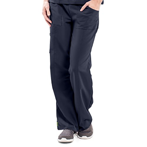 ave Women's Medical Scrub Pants, Pacific ave, Slimming Straight Leg Style Scrub Pant, Cargo Pockets, Great for Nurses, Navy, X-Large Petite