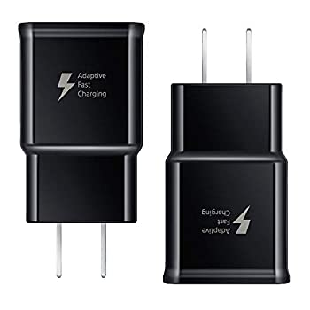 Adaptive Fast Charging Wall Charger Adapter Compatible Samsung Galaxy S10 S10 Plus S9 S9 Plus S8 S8 Plus S6 S7 Edge Plus Active Note 10 9 8 5 LG G5 G6 G7 V20 V30 ThinQ Plus Quick Charge 3.0 [2-Pack]