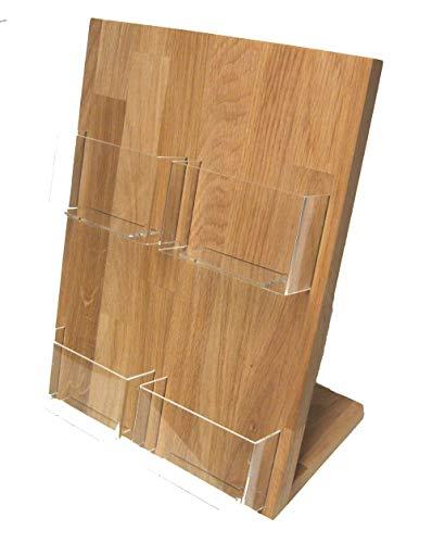 LINLAY Intarsien & Gravuren 4X Din A6 (Hochformat) Postkarten-Ständer Tischmodell Prospekt-Halter Massiv Eiche mit Acryleinsatz