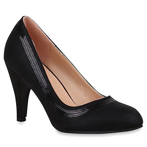 Klassische Damen Lack Pumps Elegant Abend Metallic Schuhe 65701 Schwarz Pailletten 39 Flandell