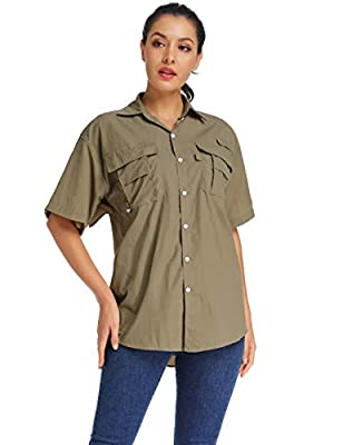 Women's Quick Dry Sun UV Protection Short Sleeve Shirts for Hiking Camping Fishing UPF Top (5017 Khaki XL)