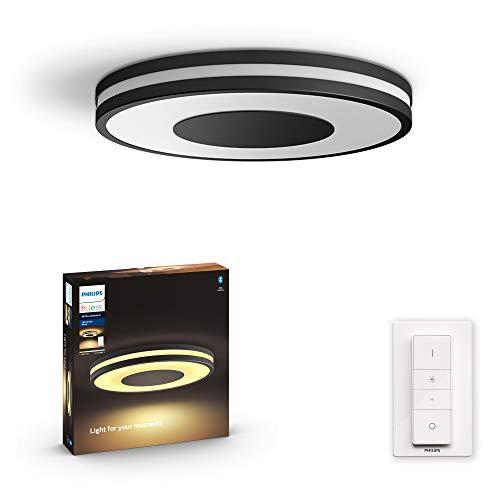 Philips Hue Being Plafón Inteligente LED negro con Bluetooth, Luz Blanca de Cálida a Fría, Compatible con Alexa y Google Home
