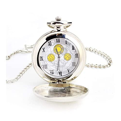 SKYEI Reloj de Bolsillo Elegante clásico.Reloj de Bolsillo y Cadena de Relojes de Bolsillo, Retro Extra Grande Roman Anime Quartz, como día de Padre/cumpleaños Infantil/Aniversario/Regalo de Anciano,