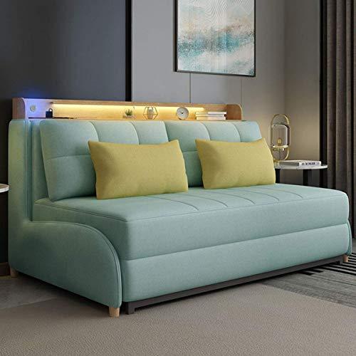 Home Equipment NUEVO Sofá cama convertible para sala de estar con luz de noche y sofá de dos plazas Sofá de almacenamiento plegable Sofá cama de futón europeo Muebles para apartamentos y espacios p