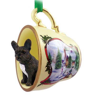 French Bulldog Dogs in Holiday Scene Teacup Christmas Ornament