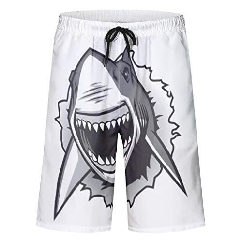 kikomia Herren Badehose Haifisch Gesicht Druck Leicht Strandbrettshorts mit Taschen Mesh Futter White s