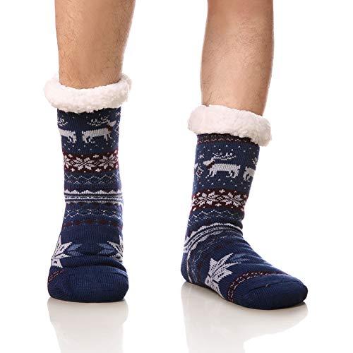 DoSmart Men's Winter Thermal Fleece Lining Knit Slipper Socks Christmas Non Slip Socks(Color Blue)