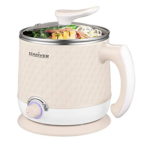 Stariver Electric Hot Pot, 1.8L Electric Cooker, Multi-Functional Mini Pot for Noodles, Soup, Porridge, Dumplings, Eggs, Pasta with Keep Warm Function, Over Heating and Boil Dry Protection, Beige