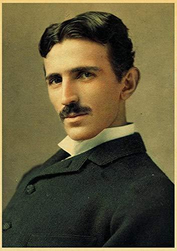 xinxinxiangrong Póster e Impresiones Vintage Nikola Tesla póster Bobina turbina lámpara Torre Estilo Arte Lienzo Pintura Pared Pegatina A75 50 × 70 cm sin Marco