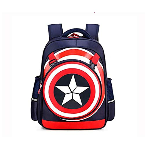 JIAN Niños Capitán América 3D Escudo Mochila De Dibujos Animados Anime Ligero Impermeable Usable Bolsa De Gran Capacidad,B-S