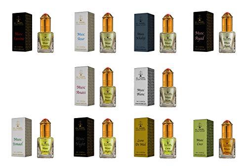 Premium Moschus Herren Duftset - 10x 5ml Parfum (TOP 10 MIX) - El Nabil Misk Musk Duft - Parfüm Öl für Männer