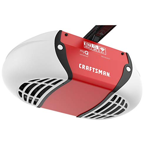 CRAFTSMAN 1/2 HP Smart Garage Door Opener - myQ Smartphone Controlled - Belt Drive, Wireless Keypad Included, Model CMXEOCG571, Red