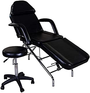 Basic Facial Chair with Free Stool, Facial Bed, Massage Table (black)