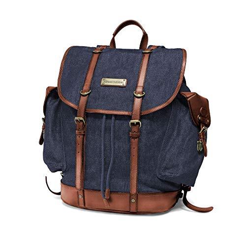 """DRAKENSBERG Vintage Rucksack mit 13"""" Laptopfach, Premium-Qualität, Kimberley-Backpack, 24 L, Jeans-Stoff und Echt-Büffel-Leder, Denim-blau, DR00113"""