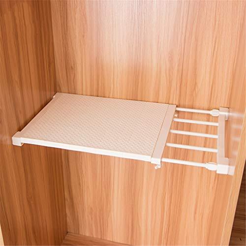 Keuken Organisatie en Opslag Manden Planken Intrekbare Closet Organizer Plank Verstelbare Kast Houder Wit 49,5X35cm Kast Rekkast Badkamer, Wit