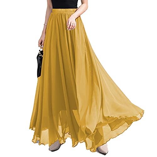Falda de gasa de cintura alta para mujer