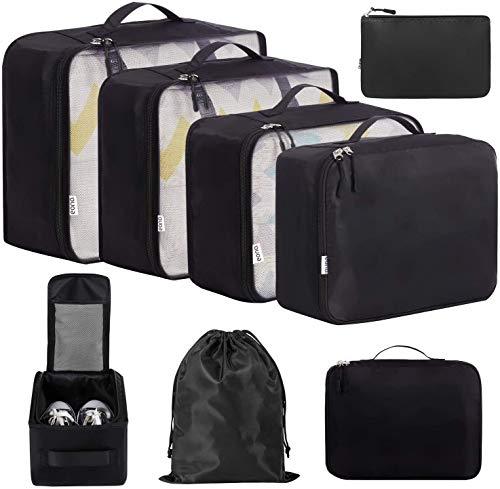 Eono by Amazon - 8 Set Cubos de Embalaje, Organizadores para Maletas, Travel Packing Cubes, Equipaje de Viaje Organizadores, con Bolsa de Zapatos, Bolsa de Cosméticos y Bolsa de Lavandería, Negro