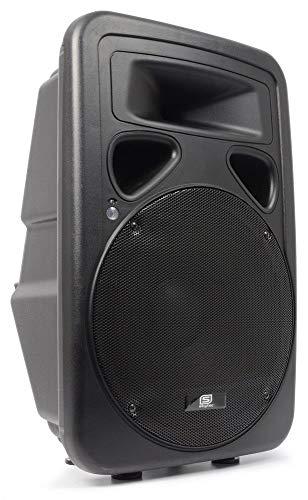 Skytec Coppia casse acustiche attive altoparlanti DJ PA (2x 400 Watt RMS, struttura in ABS, ingresso microfono, maniglia per trasporto, flangia per stativo)