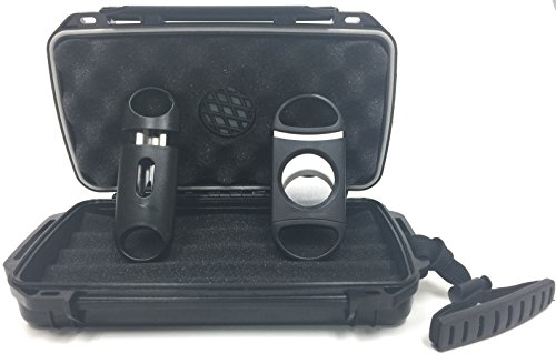F.e.s.s FESS F5 Gift Set Travel Cigar Humidor Waterproof Holder Case with 80 Guage and V-Cut Cigar Cutter Set