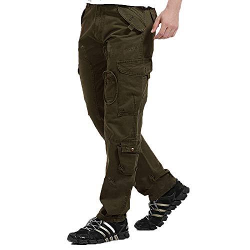 GSPURS Los hombres Pantalones de Invierno Cálido Deporte al Aire Libre Pantalones a prueba de viento Senderismo Monos Camping Escalada Correr Camuflaje Pantalones Local Ejército-Verde-