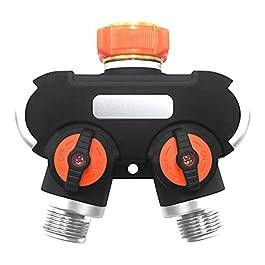 WOLAFOO Répartiteur d'eau Y à 2 voies, 3/4″ et 1/2″, tuyau d'arrosage de jardin et tuyau d'arrosage, débit d'eau réglable et verrouillable (type filetage)