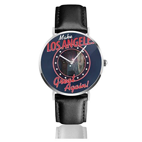 Unisex Business Casual Runner Make Los Angeles Great Again Relojes Reloj de Cuero de Cuarzo