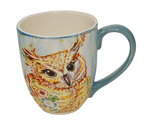 Duo Jumbotasse Becher XXL folkloristische Deko 810 ml aus Keramik Trinkbecher Smoothie Becher Geschenk Büro Tasse für Kaffee Teetasse Cappuccino Kaffeebecher Jumbo-Tasse Riesentasse XXXL (Eule)