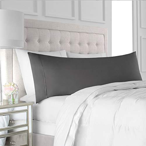 "Italian Luxury Body Pillow Cover - Soft, Allergy-Friendly Microfiber Pillow Case w/ No Zipper - Long Body Pillows for Adults - 21"" x 60"", Gray"