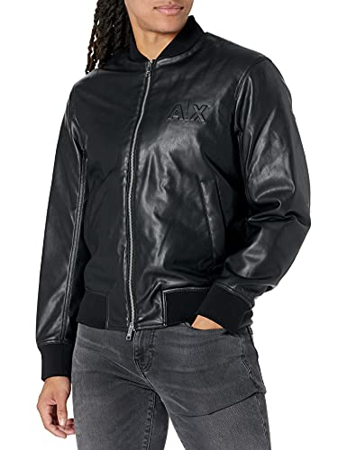Armani Exchange PU Leather Chest. Big Mirrored Logo on Back sur Tone. Two Pockets. Double Zip Jacket, BLACK, L