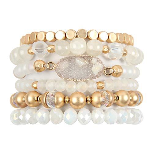 Bohemian Versatile Multi-Layer Bead Statement Bracelet - Stretch Strand Stackable Cuff Bangle Set Sparkly Crystal, Acrylic Druzy, Pave Fireball (Bohemian Oval Druzy Set - White)