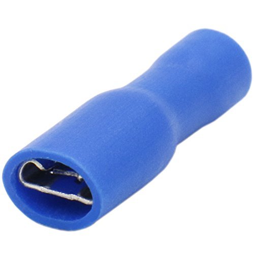 Heschen Kabelklemme für 1,5–2,5 mm² (16–14 AWG), Vinyl, vollisoliert, 4,8 x 0,5 mm, Blau, 100 Stück