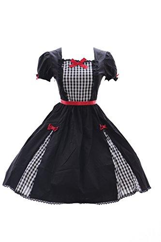 Kawaii-Story JL-626 Karo schwarz Kleid Stretch Classic Gothic Lolita Kostüm Dress Cosplay (Stretch M-L)