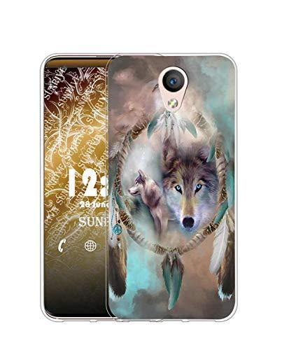 Sunrive Funda Compatible con Huawei Y635, Silicona Slim Fit Gel Transparente Carcasa Case Bumper de Impactos y Anti-Arañazos Espalda Cover(Q Lobo 5)