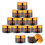 1 Oz Glass Cream Jars with Gold Lid, Empty Amber Glass Containers, Refillable Cosmetic Vials for Salve, Lotion, Ointment (12 PCS)