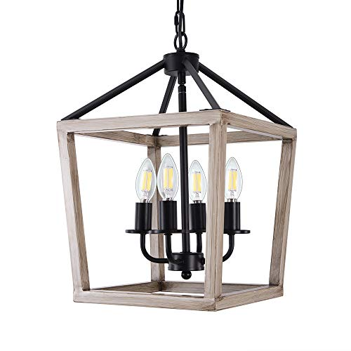 Wellmet 4-Light Rustic Chandelier, Adjustable Metal Square Pendant Ceiling Hanging Light Fixture with Imitation Wood Finish for Dining Room Kitchen,Farmhouse, Hallway and Entryway