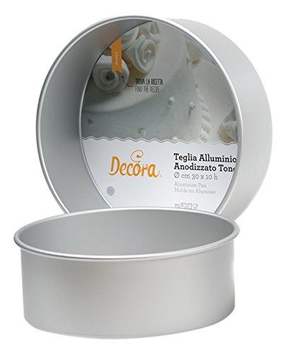 Decora 0062612 Moule Professionnel Aluminium ANODISE' Rond Ø CM 20 X 10 H, Métal, Argent/Noir, 20 x 10 cm