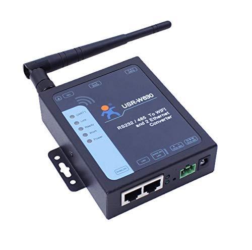 USR-W630 Industrial Serial-to-WiFi- und Ethernet-Konverter Unterstützt 2 Ethernet-Ports, Modbus RTU-DC-Adapter und Terminal-Netzteil 5-36 V