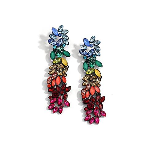 SALAN Pendientes Largos De Cristal Bohemio para Mujer, Pendientes Brillantes De Piedra De Color Arcoíris Za, Joyería Nupcial para Boda